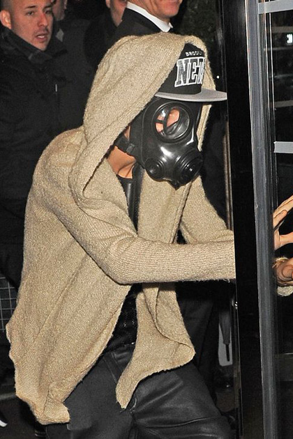 Gas mask accessories.  Obviously. Bieber is such a trend setter.