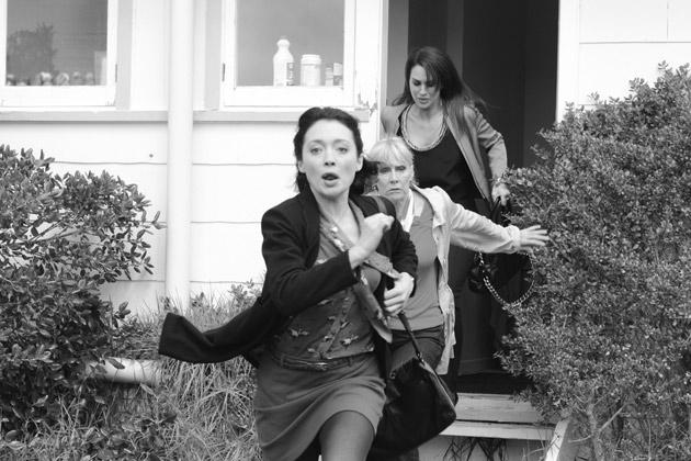 Jane, Linda and Hannah make a run for it