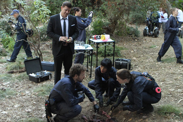 Booth watches as Brennan, Cam and Hodgins discover that the remains of two bodies are in the shallow grave.