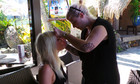 Natasha Bedingfield getting a make up touch up 