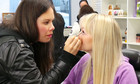 The Gap5 girls getting their makeup done - Behind the scenes at The X Factor Publicity shoot