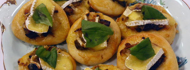 Sarah's Eggplant, Fennel, Chilli, Garlic and Camembert Mini Pizzas