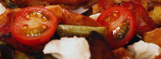 Sarah's Cherry Tomato, Spring Onion, Bacon and Cream Cheese Gallete