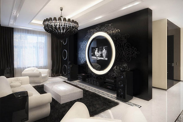 A chandlier gives black serious class while the feature wall works as a photo frame for the television.