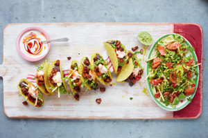 Ultimate Pork Tacos with Spicy Black Beans and Avocado Garden Salad