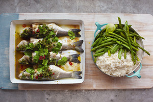 Asian Sea Bass with Sticky Rice and Dressed Greens