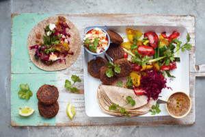 Falafel Wraps with Grilled Veg and Salsa