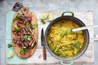Thai Chicken Laksa with Mildly Spiced Noodle Squash Broth