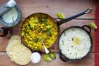 Kerlan Veggie Curry with Poppadoms, Rice and Minty Yoghut