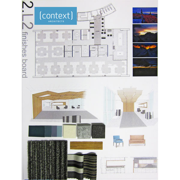 Mock up a floor plan or quick sketches of your room. Add photos of the landscape or mood that you want to reflect