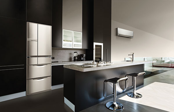 Mitsubishi Electric's new Designer Series Heat Pump shown in matte silver