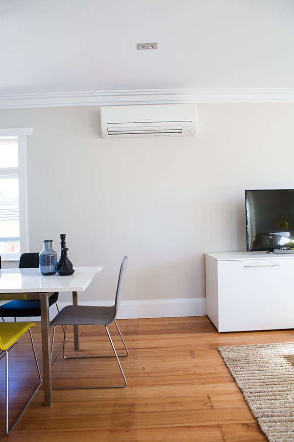 The Mitsubishi Electric GE Series Heat Pump installed in Pete & Andy's Dining Room