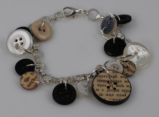 Those odd buttons you never use can be made into an eclectic bracelet