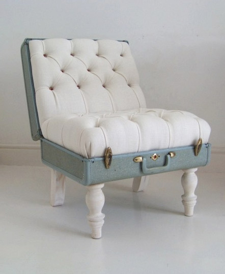 An open trunk is upcycled to be an elegant chair with added quirk