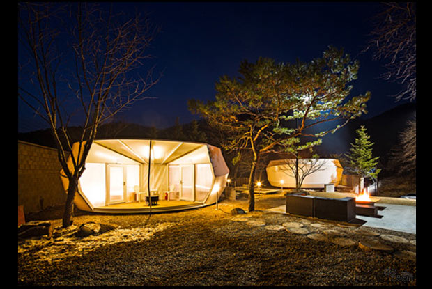 Tent at nightime