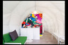 Lounge area inside a tent