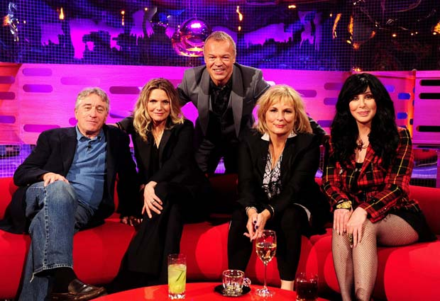 Graham Norton with (from left) Robert De Niro, Michelle Pfeiffer, Jennifer