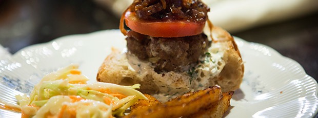 Homemade Lamb Burgers with Caramelised Red Onions, Tzatziki and Grilled Haloumi - Lucy and Johnny