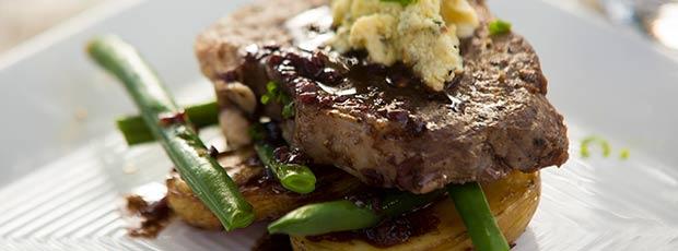 Rib-Eye of  beef, Roast Potatoes, Green Beans and Windsor Blue Mascarpone