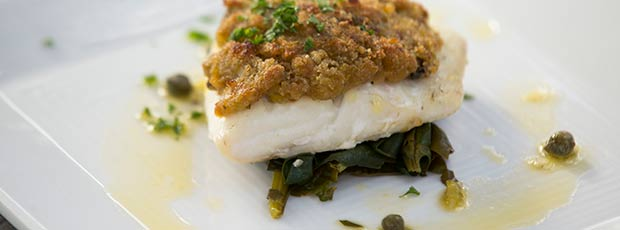 Fresh Flounder Fillets with leek and Oyster crust