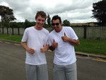 Still in sparkly whites before our Palmerston North backyard-Holi Festival!