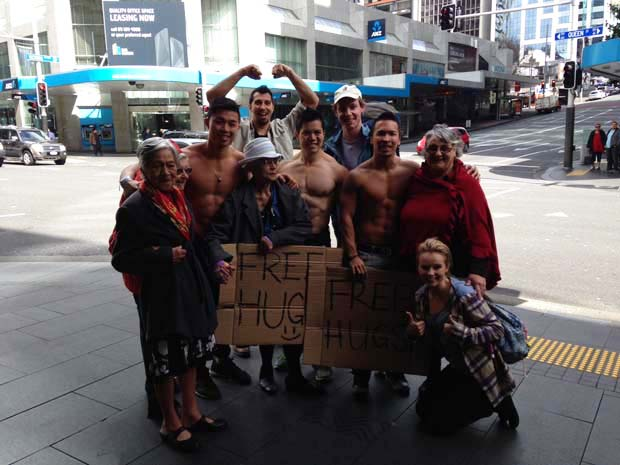 Free hugs from grannies or buff men - your pick!