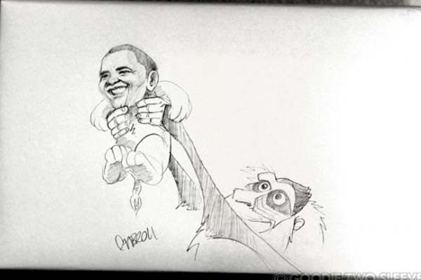 On the box can you draw Obama getting lifted in the air like the Lion King?
