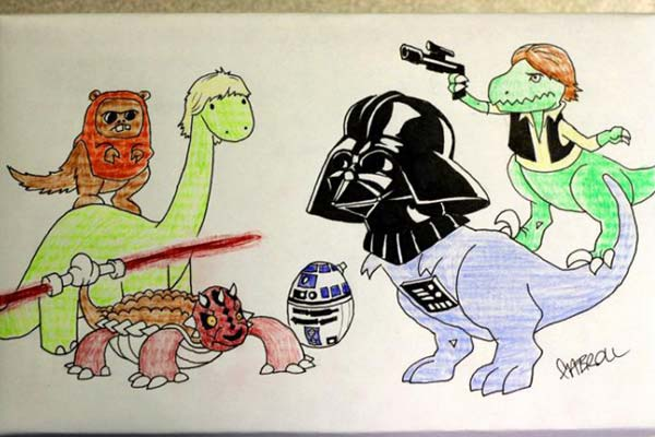 Please draw the Star Wars characters replaced with dinosaurs! (can you fit an ewok and darth maul in there?)