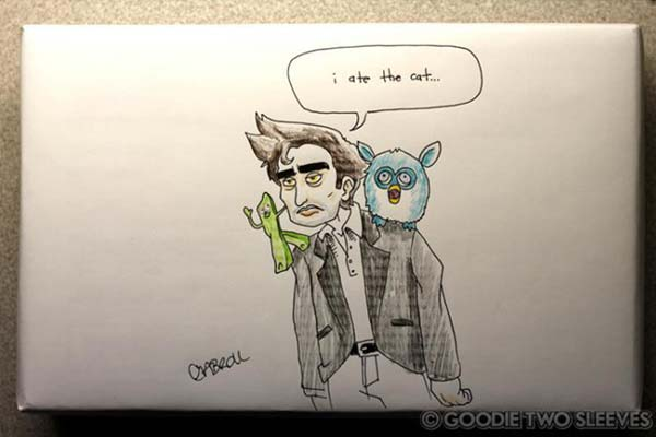 Edward Cullen from Twilight, a Furby, Gumby, and a fluffy cat all pretending to be friends.