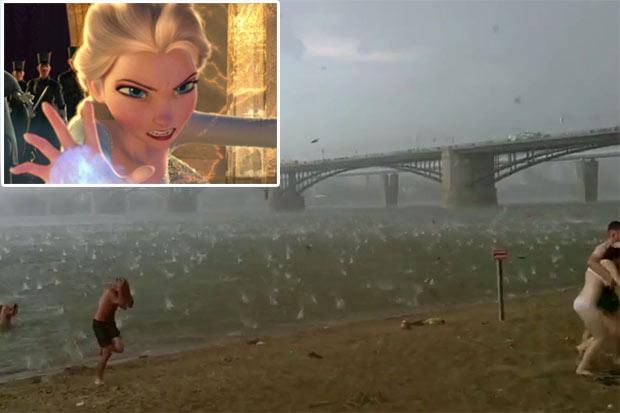 Freak storm in Russia due to Queen Elsa?