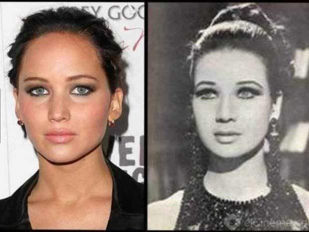 Jennifier Lawerence and her Egyptian twin-actress Zubaida Tharwat