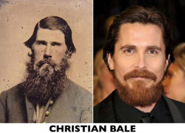 Those eyes. That beard. Christian Bale and his unindentified doppelganger