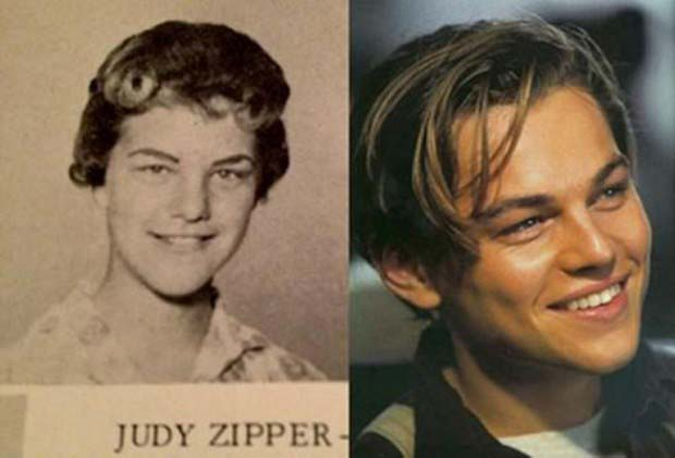 Leonardo DiCaprio and Judy Zipper from a 1960s high school yearbook