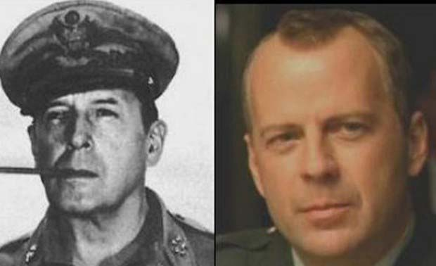 Bruce Willis and WWII General Douglas MacArthur