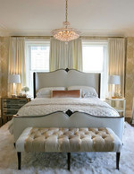 This is simple yet very glamorous - the luxe wallpaper and combination of lush fabrics/textures are behind this