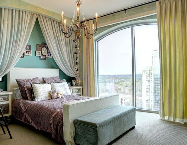 Try using curtains in different ways to give your room that soft dreamy feel