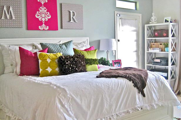 Tip 1: Buy some white bedding, add colourful pillows and throw , then create some of your own artwork to match!