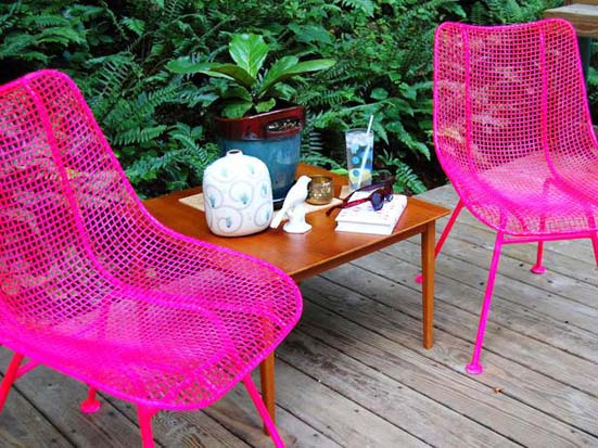 Need a burst of vibrant colour? Bust out some neon paint and revamp old outdoor furniture!