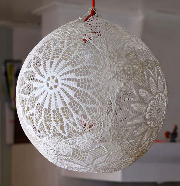 A twist on the usual DIY-twine lampshade - this was pretty shade can be created with cloth/paper doilies
