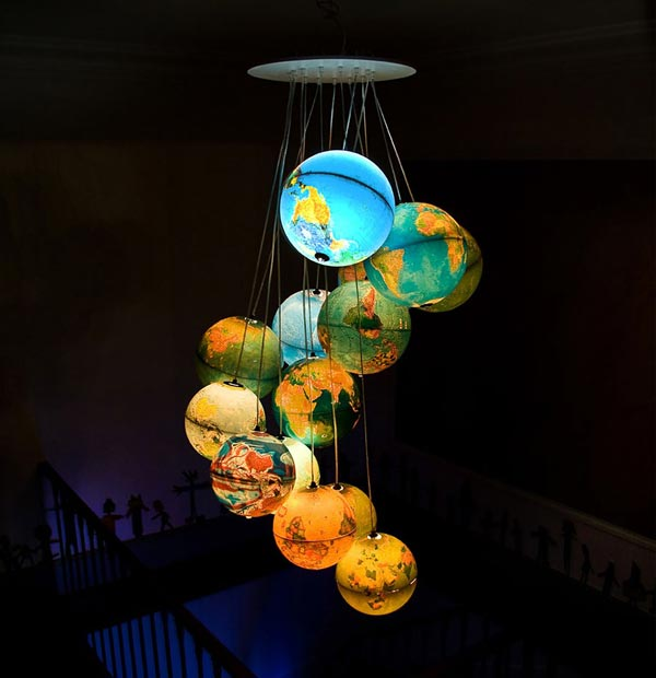 Indulge your wanderlust with a chandelier of hanging globes