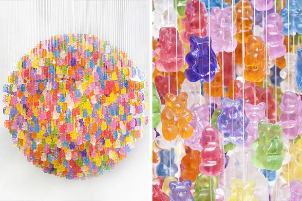 The temptation will be strong - but try not to eat the gummy bears from your deliciously edible chandelier!