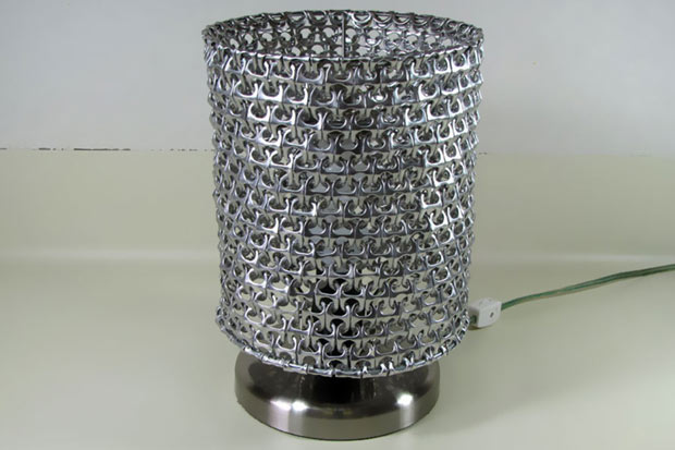 Yup you guessed it - this lampshade is made entirely of can rings!