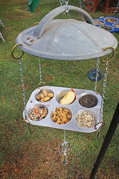 1 rubbish bin lid + 1 muffin tray + fruits + nuts + seeds = happy birds