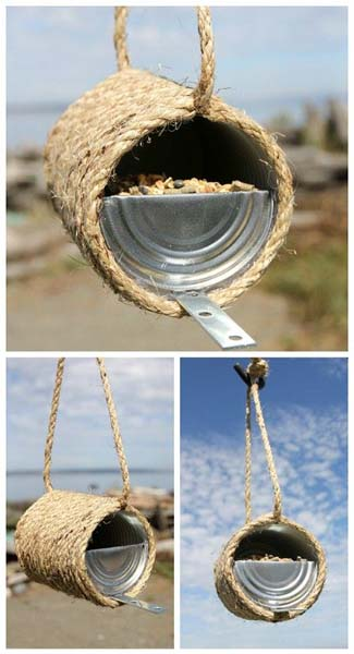 Wrapping the tin can in rope makes this bird-feeder much more sightly