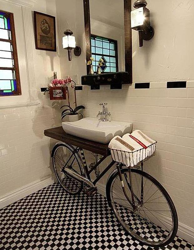 Use a bike as a bathroom shelf or