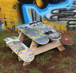 Use abandoned skateboards to create a picnic table for the kids!