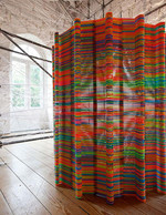 Piling coat hangers together can create a colourful room divider!