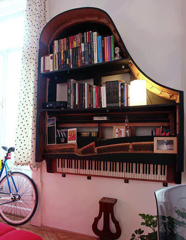 Use an old piano for an awesome shelf