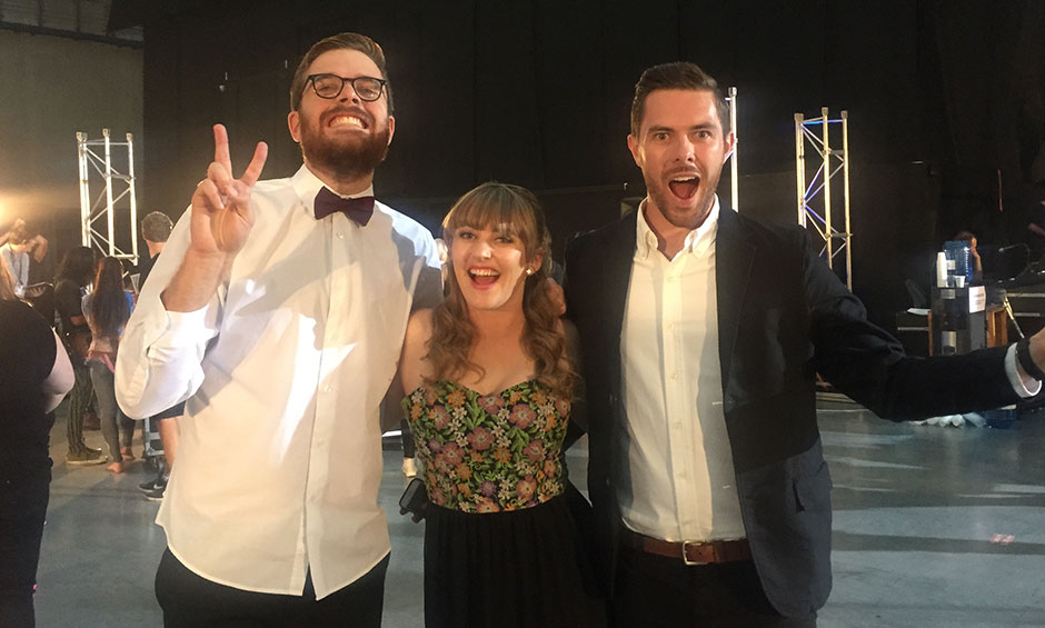 Guy, Sharyn and Clint ready to go for Xtra Factor!